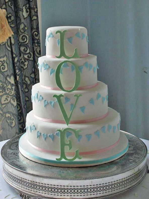 4 Tier L O V E Wedding Cake